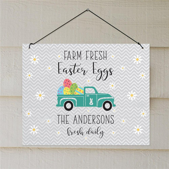 Personalized Farm Fresh Easter Eggs Wall Sign-Personalized Gifts