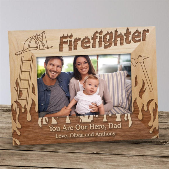 Personalized Firefighter Wood Picture Frame-Personalized Gifts