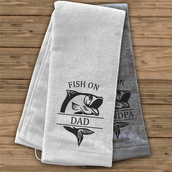 Personalized Fish on Dad Towel-Personalized Gifts