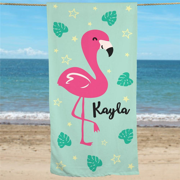 Personalized Flamingo Beach Towel-Personalized Gifts