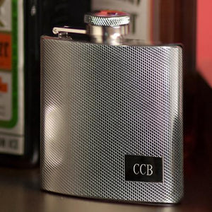 Personalized Flask - Textured Stainless Steel-Personalized Gifts