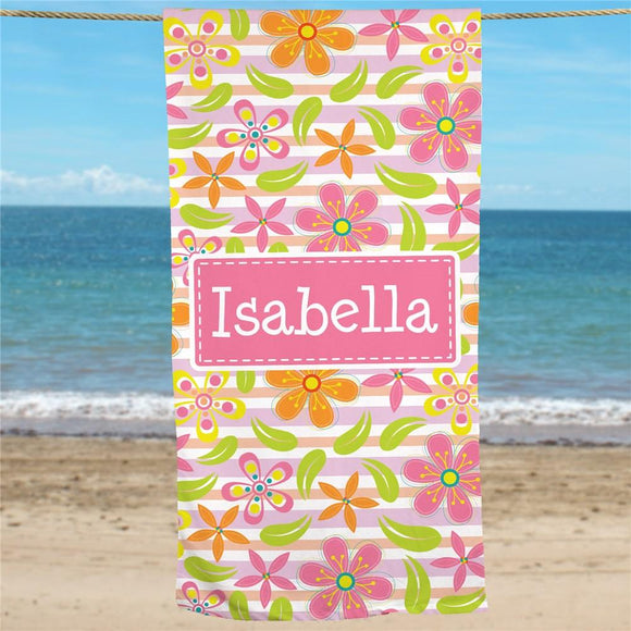 Personalized Floral Pattern Beach Towel-Personalized Gifts