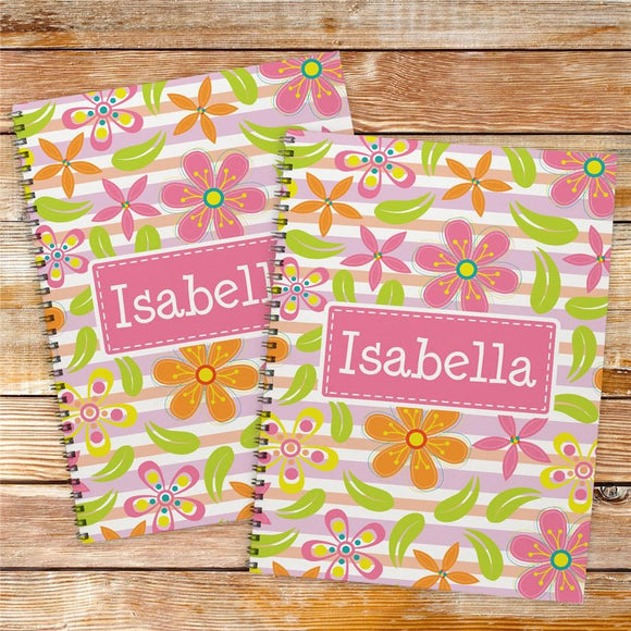 Personalized Floral Pattern Notebook Set-Personalized Gifts