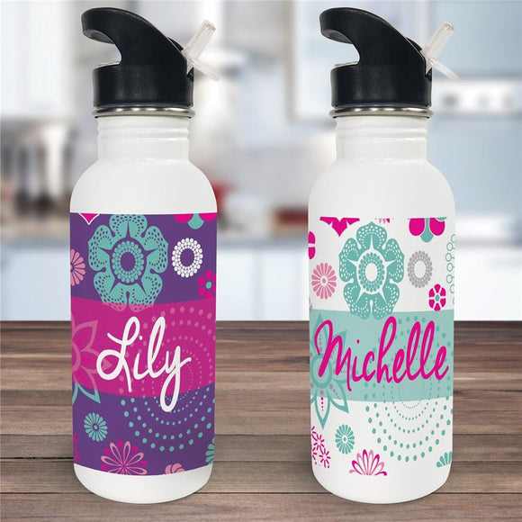 Personalized Floral Water Bottle-Personalized Gifts