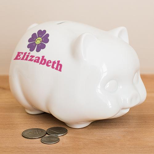 Personalized Flower Piggy Bank-Personalized Gifts