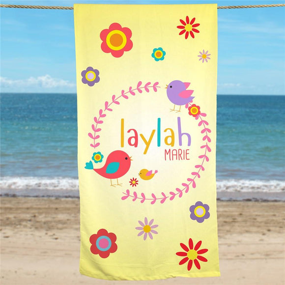 Personalized Flowers Beach Towel-Personalized Gifts