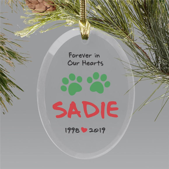 Personalized Forever In Our Hearts Christmas Glass Ornament-Personalized Gifts