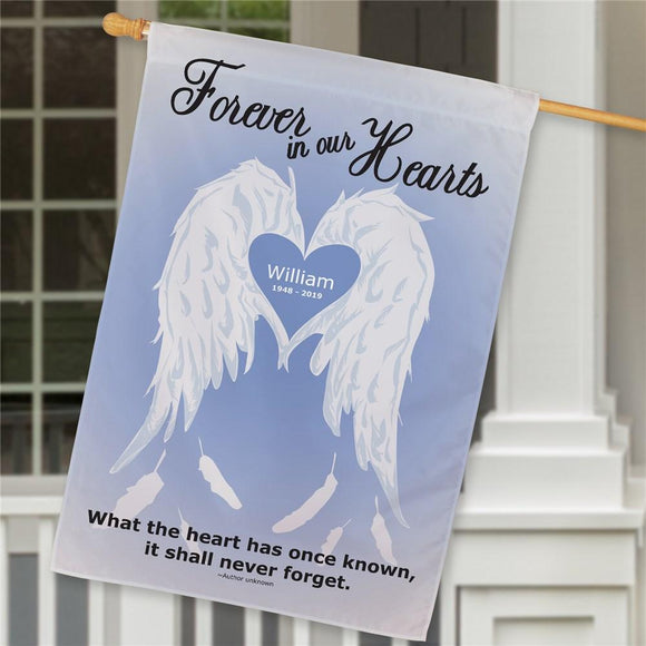 Personalized Forever In Our Hearts Memorial House Flag-Personalized Gifts