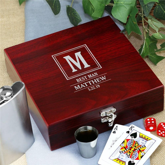 Personalized Frame Initial Groomsmen Poker Flask Set-Personalized Gifts