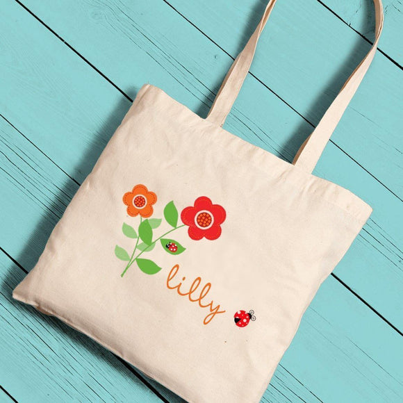 Personalized Girl Canvas Tote-Ladybug-Personalized Gifts
