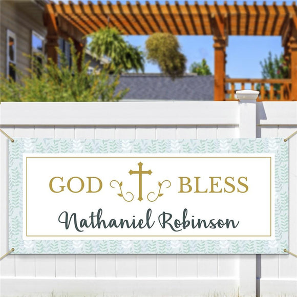 Personalized God Bless Leaves Banner-Personalized Gifts
