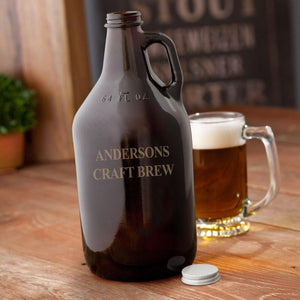 Personalized Growler - Beer - Amber Glass - 64 oz.-Personalized Gifts