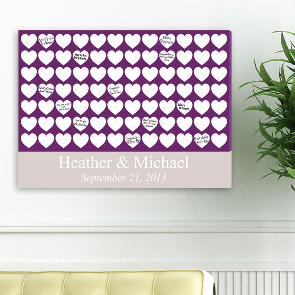 Personalized Guestbook Canvas - Plum Hearts-Personalized Gifts
