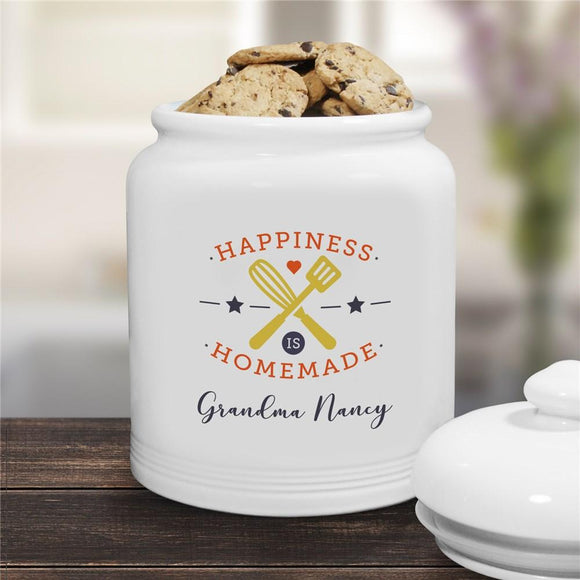 Personalized Happiness Is Homemade Ceramic Cookie Jar-Personalized Gifts