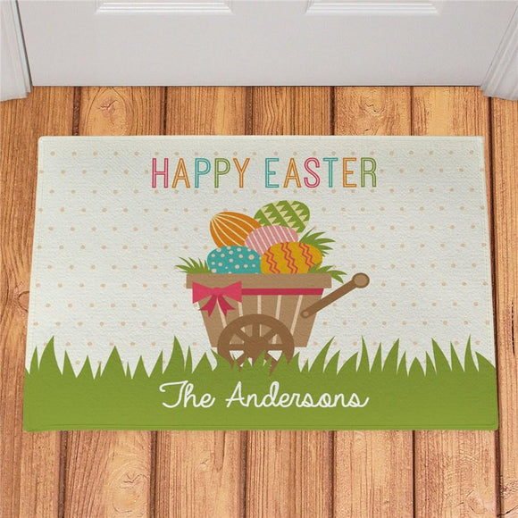 Personalized Happy Easter Wheelbarrow Doormat-Personalized Gifts