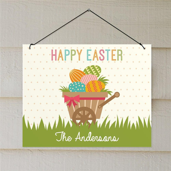 Personalized Happy Easter Wheelbarrow Wall Sign-Personalized Gifts