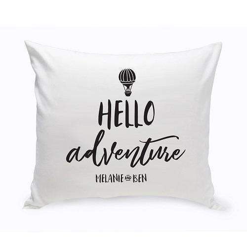 Personalized Hello Adventure Throw Pillow-Personalized Gifts
