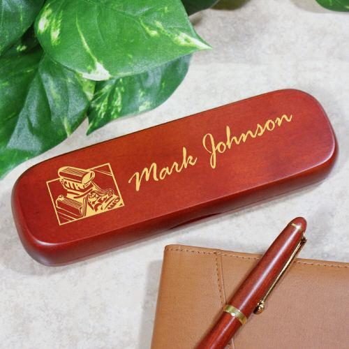 Personalized Hot Rod Engine Rosewood Pen Set-Personalized Gifts
