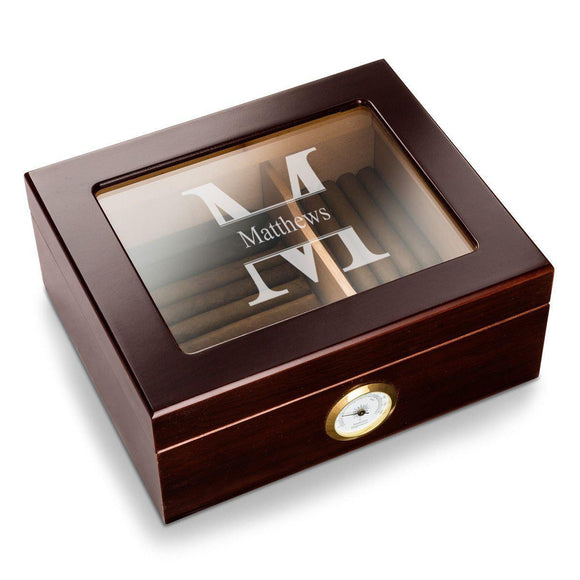 Personalized Humidor - Glass Top - Mahogany-Personalized Gifts