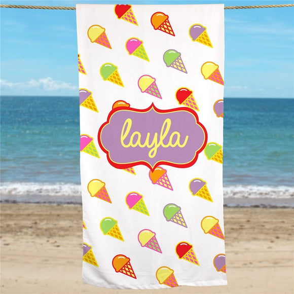 Personalized Ice Cream Beach Towel-Personalized Gifts