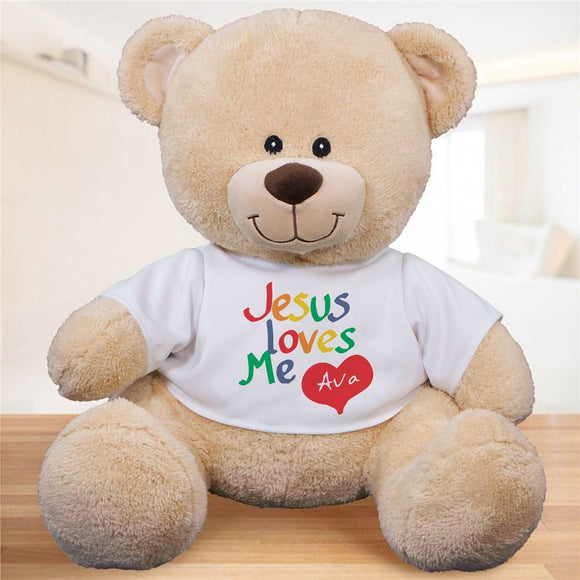 Personalized Jesus Loves Me Teddy Bear-Personalized Gifts