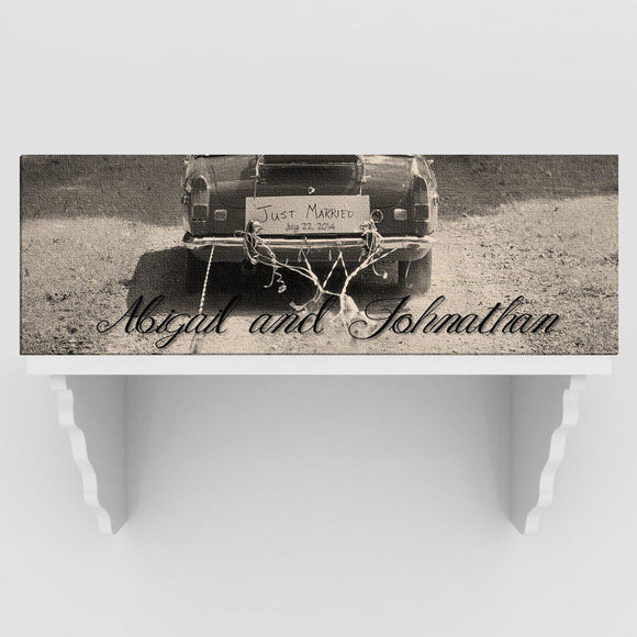 Personalized Just Married Canvas Sign - Black/White or Color-Personalized Gifts