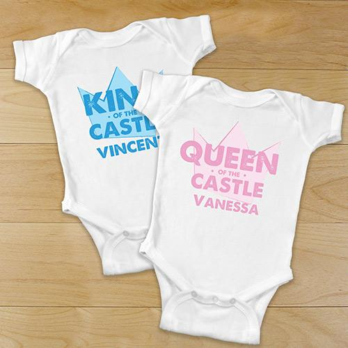 Personalized King-Queen of the Castle Baby Creeper-Personalized Gifts