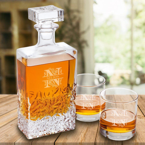 Personalized Kinsale Rectangular 24 oz. Whiskey Decanter - Set of 2 Lowball Glasses-Personalized Gifts