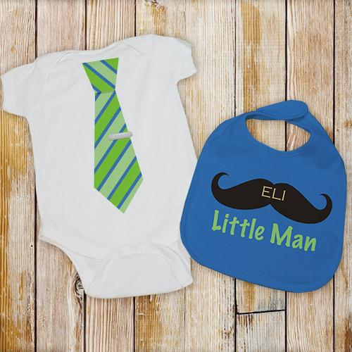 Personalized Little Man Bib and Creeper Set-Personalized Gifts