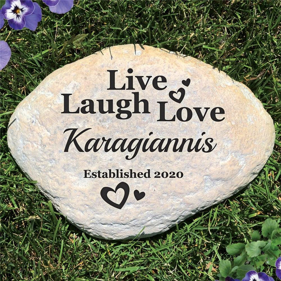 Personalized Live Laugh Love Large Garden Stone-Personalized Gifts