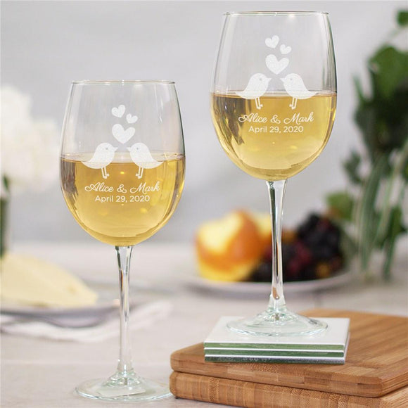 Personalized Love Birds Wine Glass-Personalized Gifts