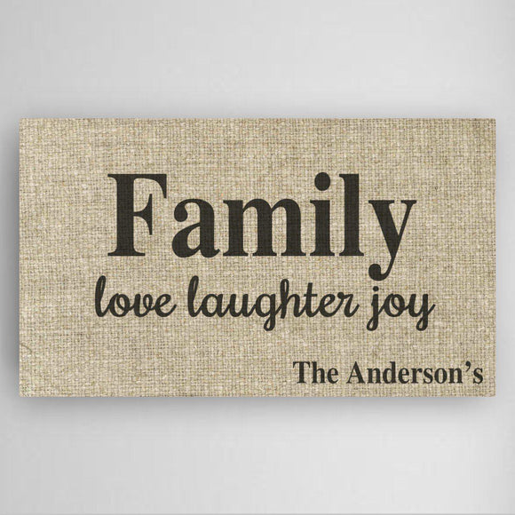 Personalized Love Laughter & Joy Family Canvas Sign-Personalized Gifts