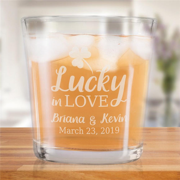 Personalized Lucky In Love Rocks Glass-Personalized Gifts