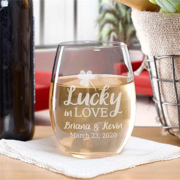 Personalized Lucky In Love Stemless Wine Glass-Personalized Gifts