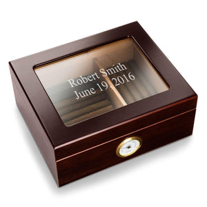Personalized Mahogany Glass Top Humidor-Personalized Gifts