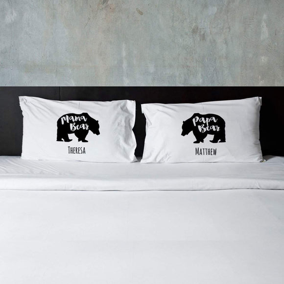 Personalized Mama Bear & Papa Bear Couples Pillow Case Set-Personalized Gifts