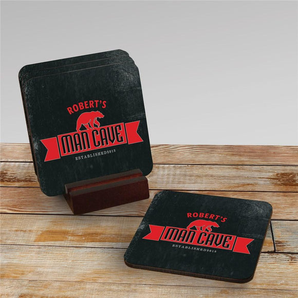 Personalized Man Cave Coaster Set-Personalized Gifts