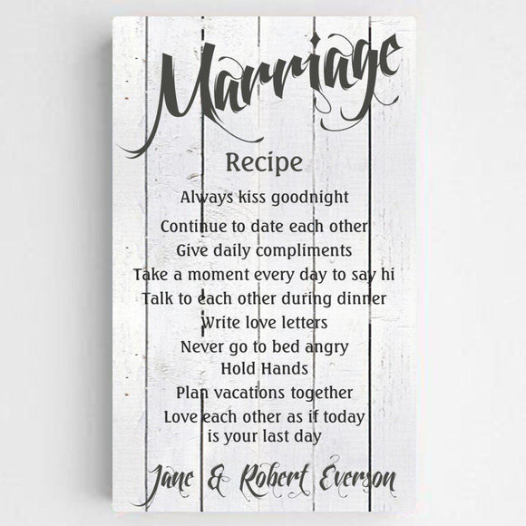 Personalized Marriage Recipe Canvas Print-Personalized Gifts