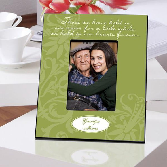 Personalized Memorial Frame - Green Hearts-Personalized Gifts