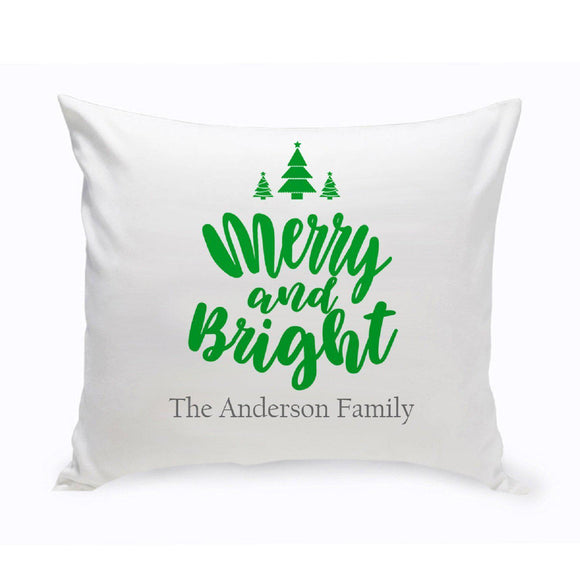 Personalized Merry & Bright Throw Pillow-Personalized Gifts