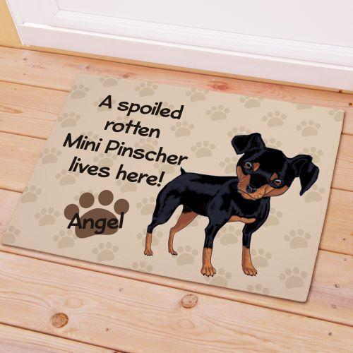 Personalized Mini Pinscher Spoiled Here Doormat-Personalized Gifts