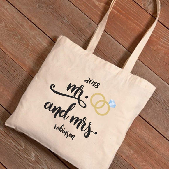 Personalized Mr. & Mrs. Wedding Rings Canvas Tote-Personalized Gifts