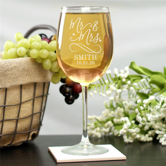 Personalized Mr & Mrs Wine Glass-Personalized Gifts