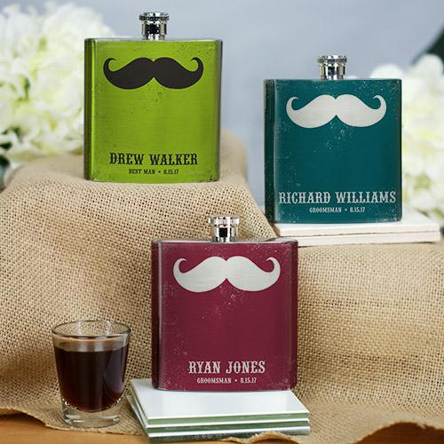 Personalized Mustache Wedding Party Flask-Personalized Gifts