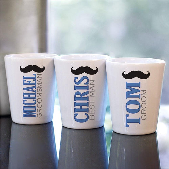 Personalized Mustache Wedding Party Shot Glass-Personalized Gifts