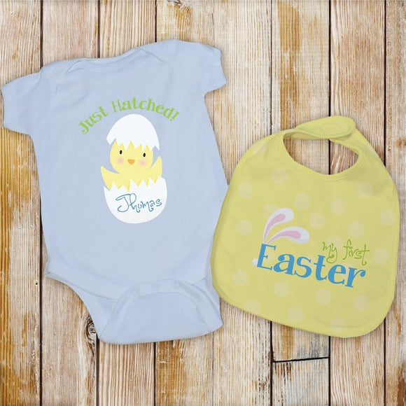 Personalized My First Easter Bib Set In Blue-Personalized Gifts
