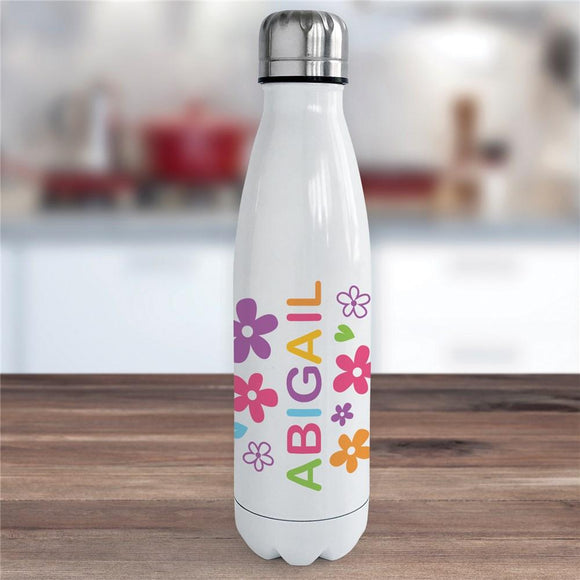 Personalized Name with Flowers Water Bottle-Personalized Gifts