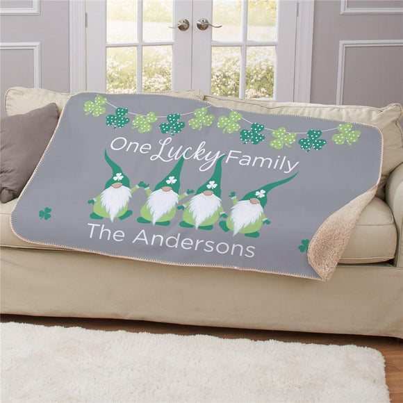Personalized One Lucky Family Gnome Sherpa Blanket-Personalized Gifts