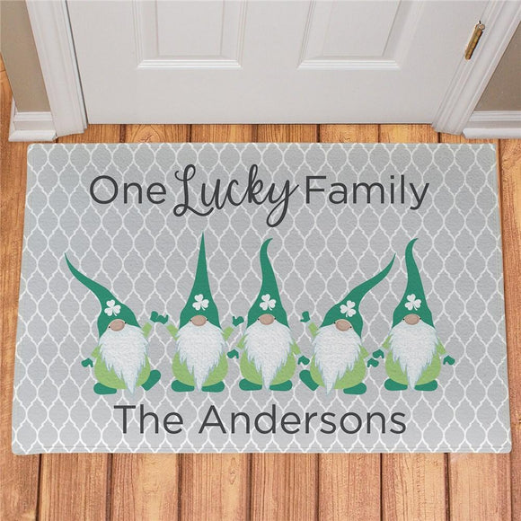 Personalized One Lucky Gnome Family Doormat-Personalized Gifts
