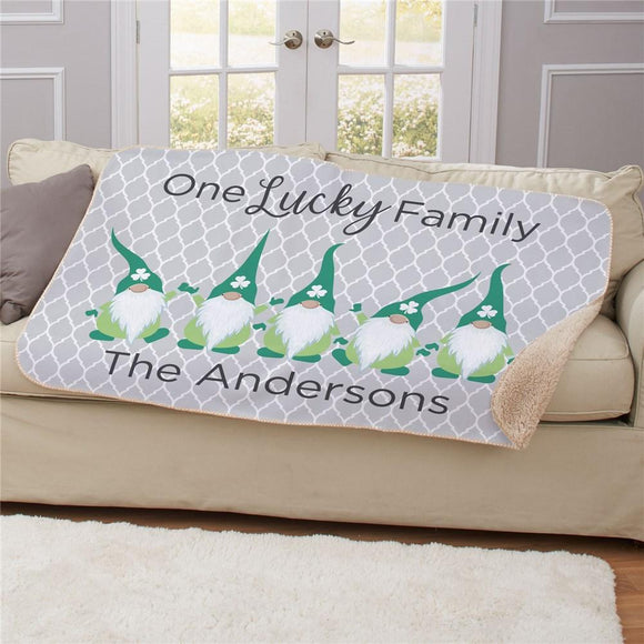 Personalized One Lucky Gnome Family Sherpa Blanket-Personalized Gifts